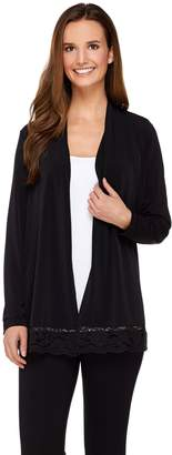 Susan Graver Liquid Knit Long Sleeve Cardigan with Lace Trim