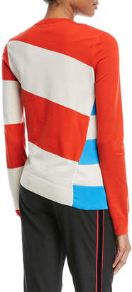 Calvin Klein Asymmetric Colorblock Stripe Sweater