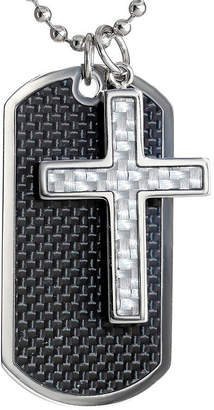 Dog tag cross necklaces for men shopstyle fine jewelry mens stainless steel and carbon fiber dog tag and moveable cross pendant necklace aloadofball Gallery