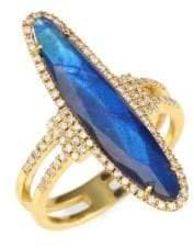 Meira T Diamonds, Blue Labradorite& 14K Yellow Gold Ring