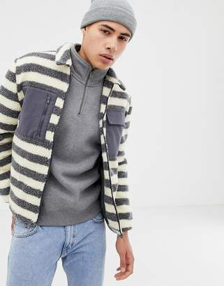 NATIVE YOUTH striped borg shacket
