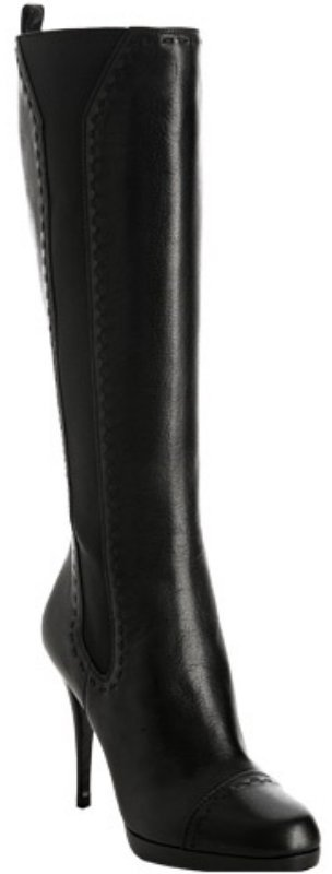 Yves Saint Laurent black leather 'Hyde' stretch tall boots