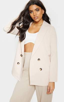PrettyLittleThing Lilac Oversized Button Detail Woven Blazer