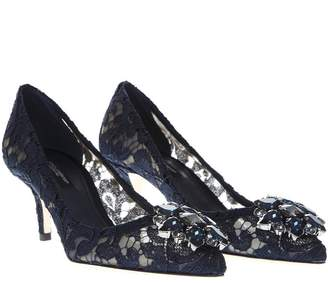 7dc04db68e37 Dolce   Gabbana Blue Bellucci Lace And Swarovski Pumps