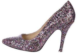 Christian Louboutin Glitter Pointed-Toe Pumps
