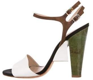 Fendi Colorblock Ankle-Strap Sandals