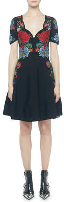 Alexander McQueen Placed Floral Short-Sleeve Dress