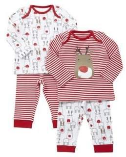 2 Pack of Reindeer Christmas Pyjamas
