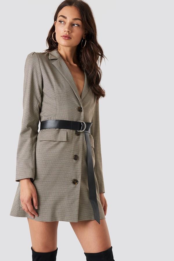 Gathered Waist Blazer Dress Brown