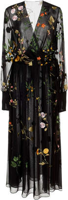 Oscar de la Renta Floral-Embroidered Silk-Chiffon Midi Dress