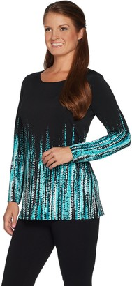 Susan Graver Liquid Knit Long Sleeve Border Print Tunic