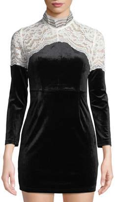 Few Moda Mock-Neck Velvet Mini Dress