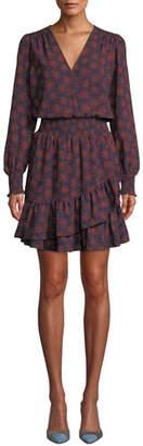 MICHAEL Michael Kors Field of Flowers Ruffle-Hem Long-Sleeve Dress