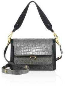 Marni Trunk Croc-Embossed Leather Crossbody Bag