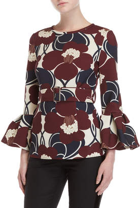 P.A.R.O.S.H. Floral Belted Trumpet Sleeve Top