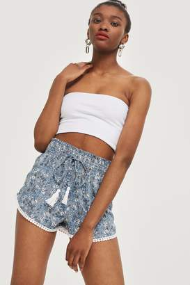 Topshop Ditsy Trim Shirred Shorts