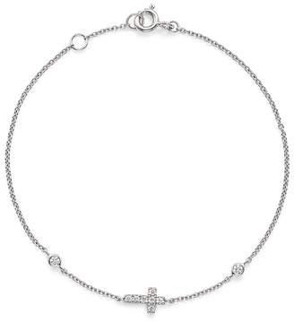 Bloomingdale's Diamond Cross Bracelet in 14K White Gold, .12 ct. t.w.