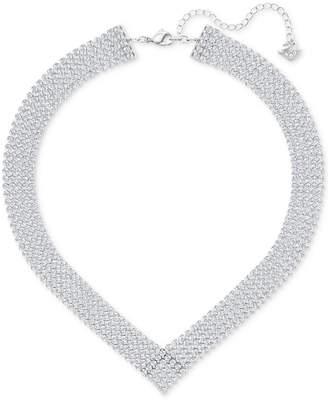 Swarovski Silver-Tone Crystal Mesh Statement Necklace