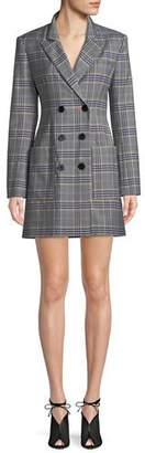 Tibi Lucas Double-Breasted Plaid Suiting Blazer Dress