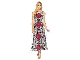 London Times Neck Pleat Matte Jersey Print Maxi Dress Women's Dress