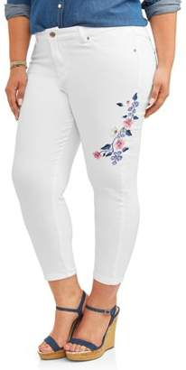 Cherokee Women's Plus Embroidered Denim Capri Jean