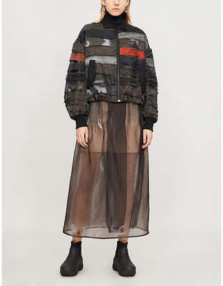 QUETSCHE Contrast-panel silk-organza and wool bomber jacket
