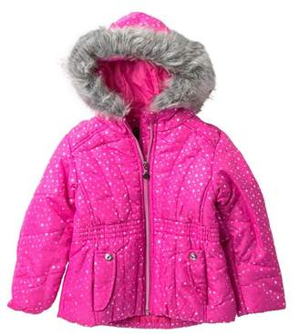 Rothschild Print Puffer Jacket with Faux Fur (Toddler Girls)