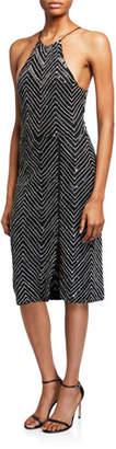 Alice + Olivia Ferne Embellished Zip Split Midi Dress