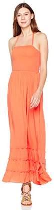 Plumberry Sexy Ruffle Halter Summer Beach Lace Up High Waist Long Maxi Dress for Women