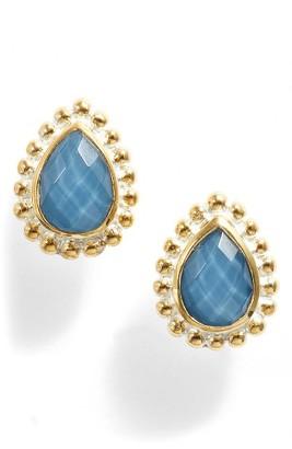 Women's Anna Beck Blue Quartz Teardrop Stud Earrings $150 thestylecure.com