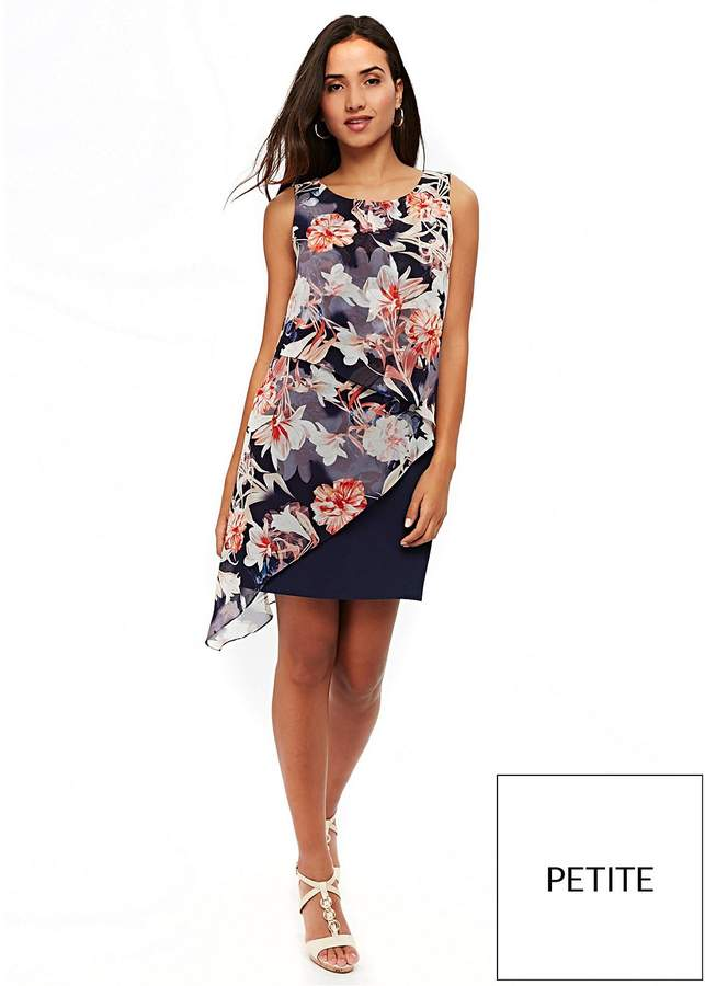 Petite Floral Asymmetric Overlay Dress -...