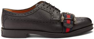 Gucci Web-strapped leather brogues