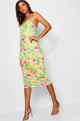 boohoo Tall Freya Asymmetric Tropical Print Dress