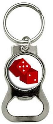 Generic Dice Craps Gambling On White Bottle Cap Opener Keychain Ring