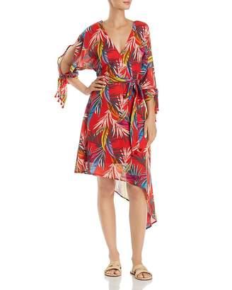 Red Carter Palm-Print Wrap Dress