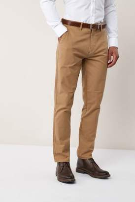Next Mens Tan Slim Fit Smart Belted Chinos