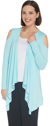 Joan Rivers Classics Collection Joan Rivers Jersey Knit Draped Front Cardigan with Cold Shoulder