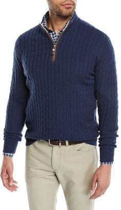 Peter Millar Men's Crown Cable-Knit Half-Zip Sweater
