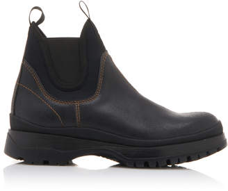 Prada Paneled Neoprene And Leather Chelsea Boots