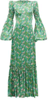 The Vampire's Wife Festival Floral Print Silk Charmeuse Maxi Dress - Womens - Green Multi