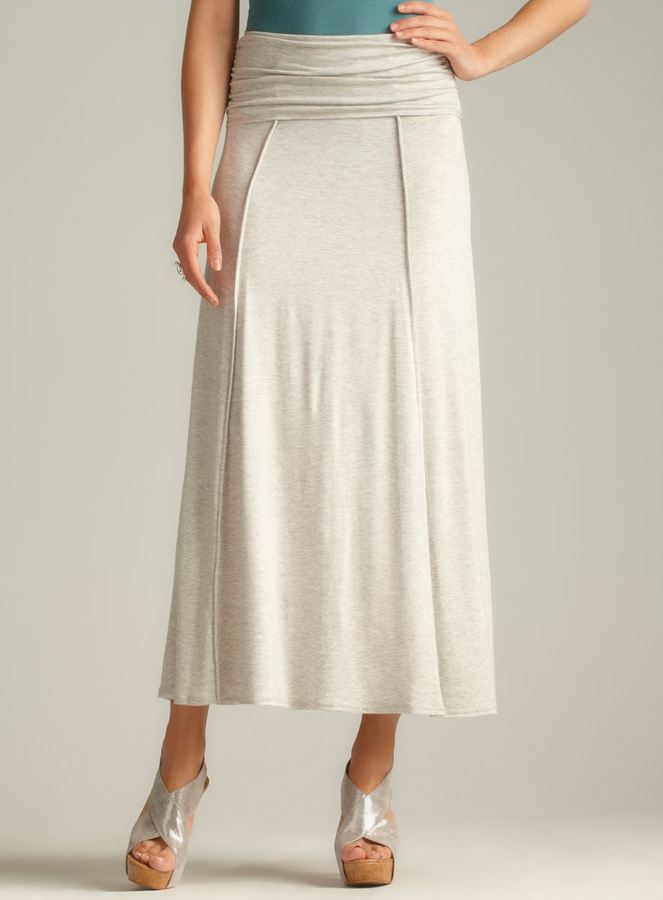Max Studio Side Ruched Foldover Maxi Skirt