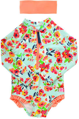 RuffleButts Girl's Floral Print One-Piece Rash Guard Swimsuit w/ Headband, Size 2T-8