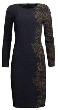 Teri Jon by Rickie Freeman Two-Way Stretch Knit Jaquard Sheath Dress