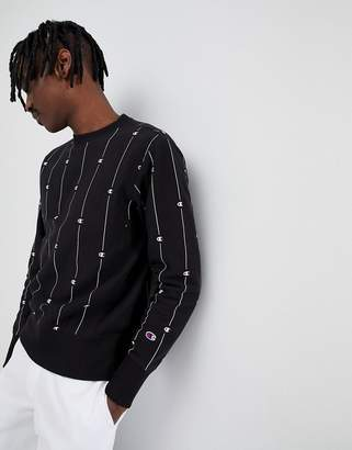 Champion reverse weave sweatshirt with stripe logo print in black