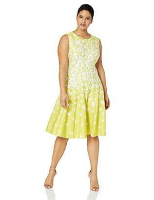 1f4cf54054f Gabby Skye Women s Plus Size Sleeveless Round Neck Scuba Fit and Flare Dress