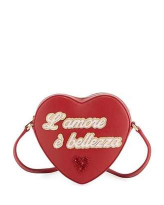 Dolce & Gabbana Girls' L'Amore Heart-Shaped Leather Crossbody Bag