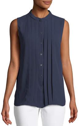 T Tahari Sleeveless Pleated Button-Front Blouse