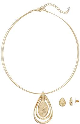 Napier Teardrop Pendant Necklace & Stud Earring Set