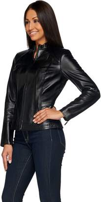 G.I.L.I. Got It Love It G.I.L.I. Zip Front Leather Jacket with Seaming Detail
