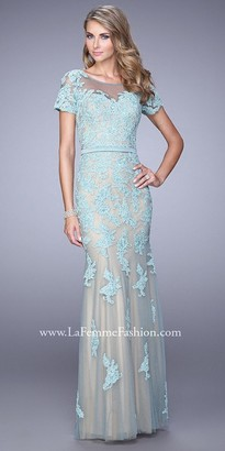 La Femme Netted Lace Applique Evening Dress $650 thestylecure.com